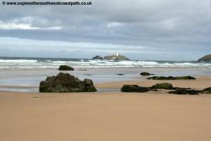 Godrevy Island and the beach at Hayle Towans