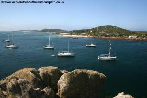 Looking over to Bryher and New Grimsby Harbour