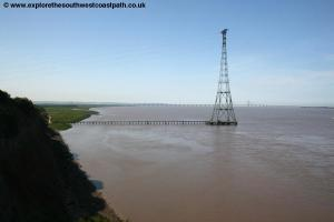 View from the Severn Bridge of the cliffs at Aust